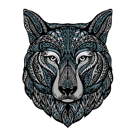 Ethnic ornamented wolf, dog, werewolf Vector illustration