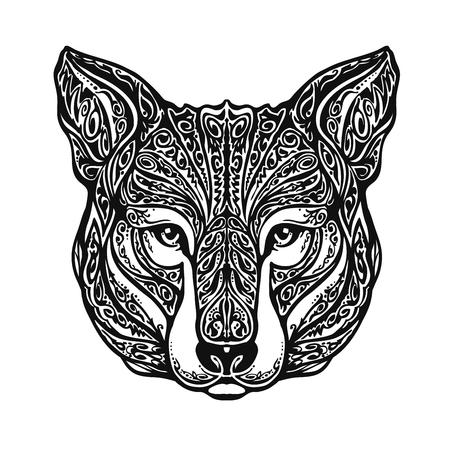 ornamented: Ethnic ornamented animal, wolf head. Vector illustration