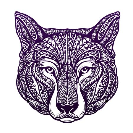 loup garou: Chien, loup peint ornement ethnique tribal. Vector illustration