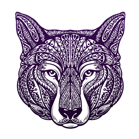 painted dog: Dog, wolf painted tribal ethnic ornament. Vector illustration