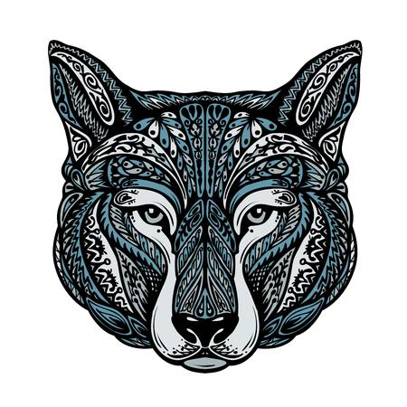 ornamented: Ethnic ornamented dog or wolf, werewolf. Vector illustration Illustration
