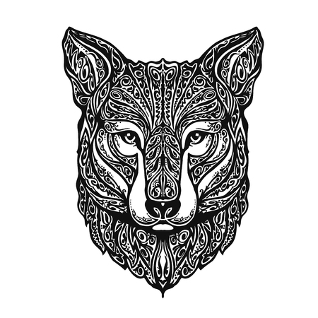 predators: Ethnic ornamented fox or dog, animal. Vector illustration