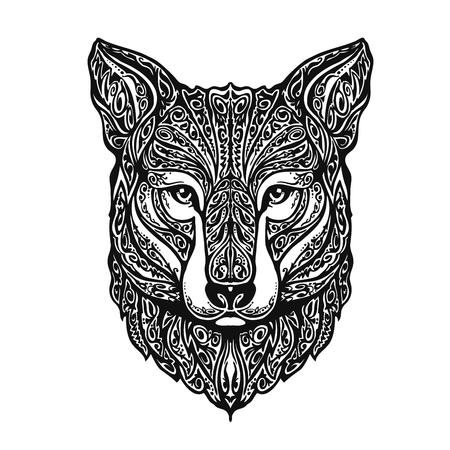 Fox étnica ornamentada o un perro, animal. ilustración vectorial Foto de archivo - 62204614