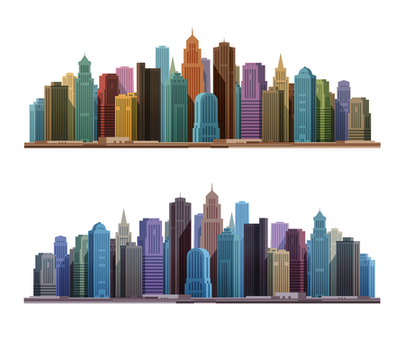 architectures: City skyline with skyscrapers. Construction, building icon Illustration
