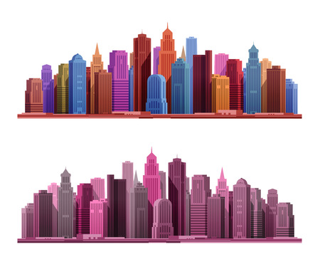 skyscrapers: Big city with skyscrapers icon. Vector illustration