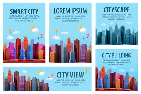 city landscape: Big modern city. Vector banner of the urban landscape