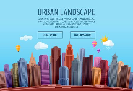 city building: Urban cityscape. Colorful building, city Vector illustration