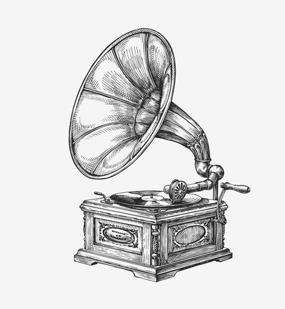 Hand drawn vintage gramophone. Sketch music. Vector illustration Çizim