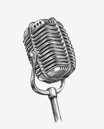 Hand getrokken uitstekende microfoon. Schets karaoke. vector illustratie