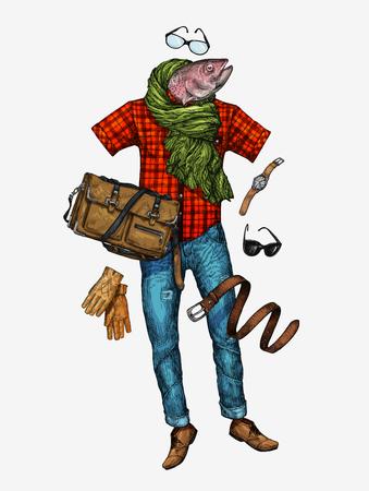 Fashion. fashion stylish men s clothing. vector illustration Illustration