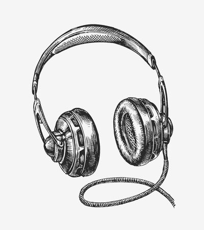 Hand drawn vintage headphones. Sketch music. Vector illustration