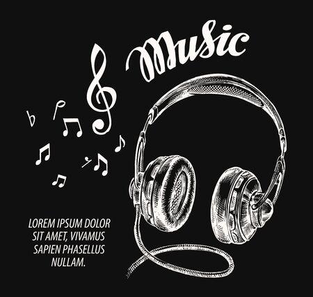 headphone: Music. Hand drawn retro headphones. Vector illustration Illustration