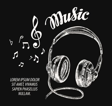Music. Hand drawn retro headphones. Vector illustration Illustration