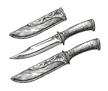 edged: Hand drawn vintage knife. Sketch edged weapon. Vector illustration