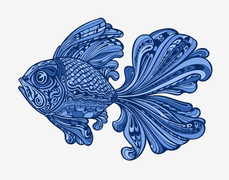 Hand drawn fish. Ethnic pattern. Vector illustration Stock Photo
