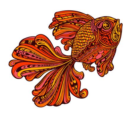 Ethnic ornamented golden fish. seafood. Vector illustration
