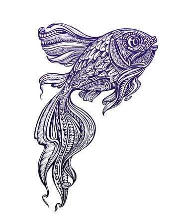 line art: Hand-drawn fish with ethnic elements. Vector illustration Illustration