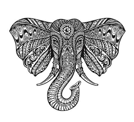 tribales: agraciado elefante adornado étnico. Ilustración del vector del tatuaje Vectores