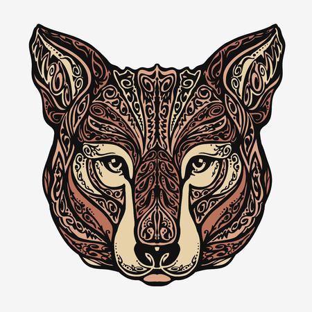 african mask: Ethnic ornamented jackal, coyote, wolf dog Vector illustration