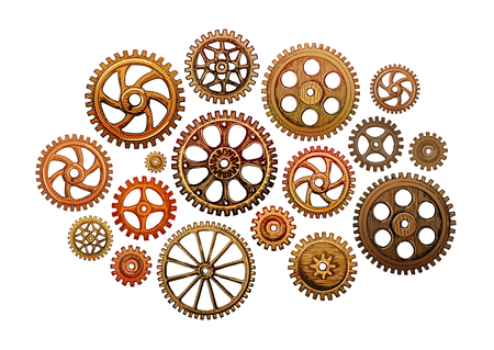 cooperate: hand drawn collection gear wheels. Industry. Vector illustration