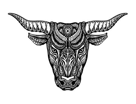 ornamented: Ethnic ornamented bull, ox, minotaur taurus Vector illustration