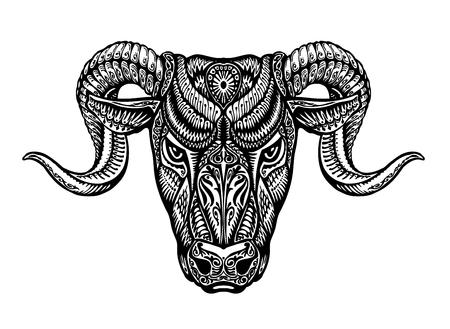 daemon: Hand-drawn head ram. Ethnic patterns. Bull or animal icon. Vector illustration Illustration