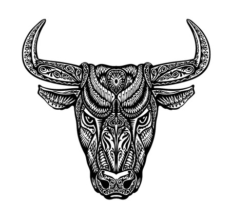 Bull, taurus painted tribal ethnic ornament. Vector illustration Çizim