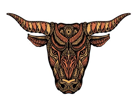 Toro, bue, taurus dipinto ornamento tribale etnico. Illustrazione vettoriale
