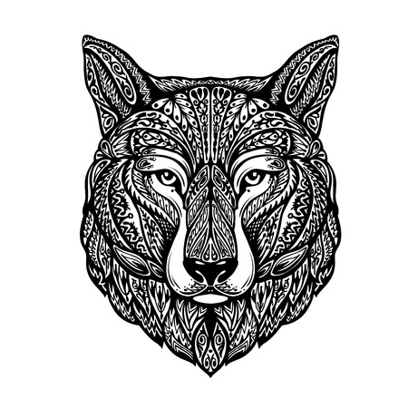 Hand-drawn head wolf. Ethnic patterns. Dog, husky or laika. Vector illustration