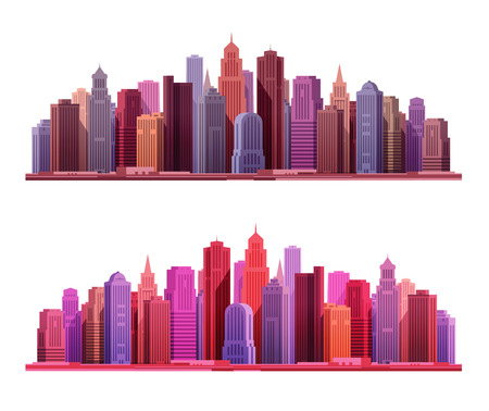 townscape: Big modern city with skyscrapers. Construction, building icons. Vector illustration