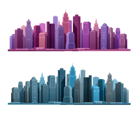 midtown: City icon. Business, tourism concept with skyscrapers. Vector illustration