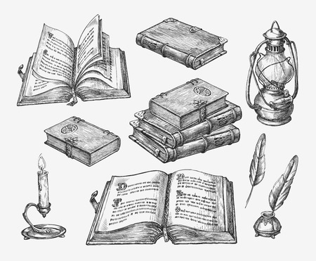 Hand drawn vintage books. Sketch old school literature. Vector illustration Vettoriali