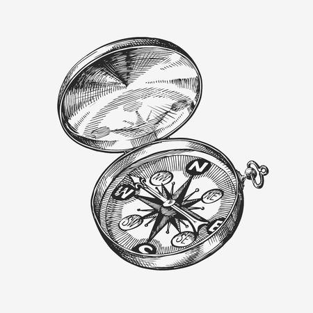 direction magnet: Hand drawn vintage compass. Sketch journey, travel. Vector illustration Illustration