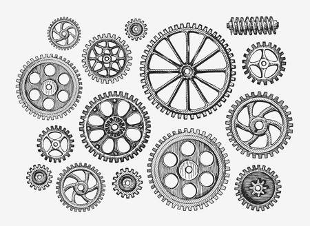Hand drawn engrenages cru, roue dentée. mécanisme Croquis, industrie Vector illustration Vecteurs