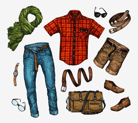 leather coat: Set of trendy men clothes. Outfit of man neckerchief, shirt, bag, jeans, pants, shorts, leather belt shoes