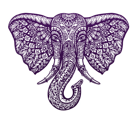 Hand drawn head elephant with ornament. Vector illustration