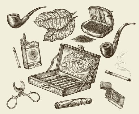 Le tabac. collection de vecteur de fumer. Main pack croquis dessiné des cigarettes, lignter, pipe, cigare, feuille de tabac, étui à cigarettes