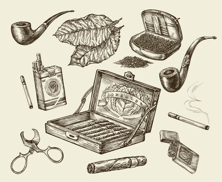 cigars: Tobacco. Vector collection smoking. Hand drawn sketch pack of cigarettes, lignter, smoking pipe, cigar, tobacco leaf, cigarette case