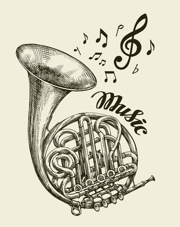 Hand drawn musical french horn. Sketch vintage trumpet. Vector illustration 矢量图像