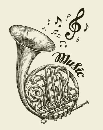 Hand drawn musical french horn. Sketch vintage trumpet. Vector illustration Illustration
