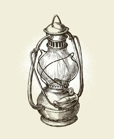 Hand drawn vintage kerosene lamp. Sketch oil lamp. Vector illustration Stock Illustratie