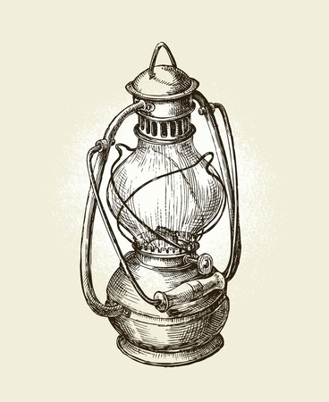 Hand drawn vintage kerosene lamp. Sketch oil lamp. Vector illustration Illustration