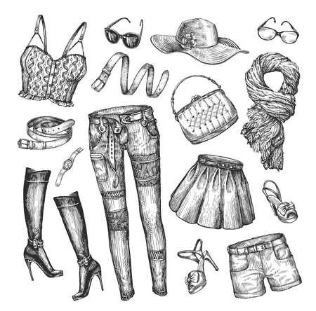 jeans skirt: Fashion. Vector collection clothing. Hand-drawn sketch skirt, top, handbag, shorts, belt, boots scarf hat shoes t-shirt glasses watches