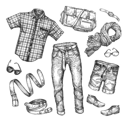 Fashion. Vector collection of men clothing. Hand drawn sketch shirt, jacket, shorts, shoes, boots, jeans, pants scarf belt glasses watches bag