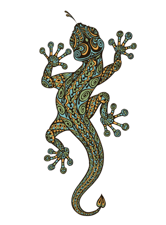 Stylized patterned lizard. Ethnic ornamented animal. Vector illustration Illustration