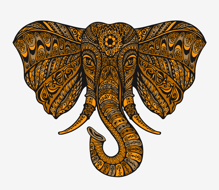 Hand-drawn indian elephant head. Ethnic patterns. Vector illustration