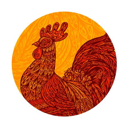 Ethnic ornamented rooster, cockerel, chicken hen Vector illustration