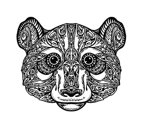 sketch drawing: Ethnic ornamented panda, bear. Hand drawn vector illustration