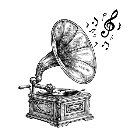 Hand drawn vintage gramophone with music notes. Vector illustration