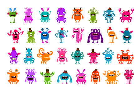 freak: Vector set of cartoon cute monsters isolated on white background Illustration